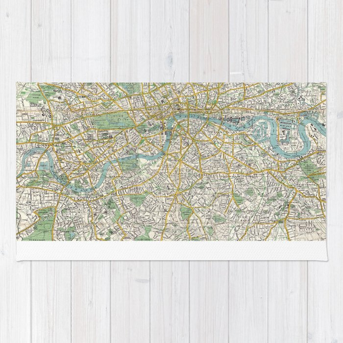 Map Of London 1900.Vintage Map Of London England 1900 Rug By Bravuramedia Society6
