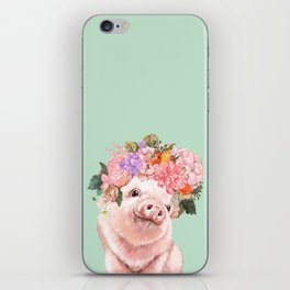 Baby Pig with Flowers Crown in Pastel Green iPhone Skin