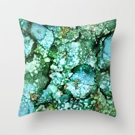 Window View on a Rainy Spring Day - Green, Blue, Brown Ink Drops Throw Pillow