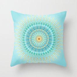 Turquoise Gold Boho Mandala Throw Pillow