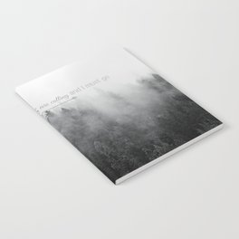 The Mountains are Calling Black and White Quote Photograph Notebook