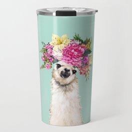 Flower Crown Llama in Green Travel Mug