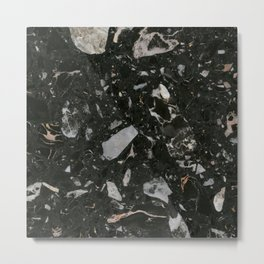 Stone Black Marble Metal Print