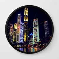 singapore Wall Clocks featuring Singapore Skyline by Mark Bagshaw Photography