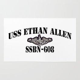 USS ETHAN ALLEN (SSBN-608) BLACK LETTERS Rug