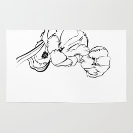 Tulips Ink Drawing Rug