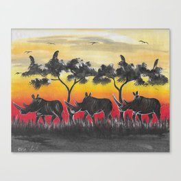 Rhino Sunset - Beautiful painting from Malawi Africa  Canvas Print