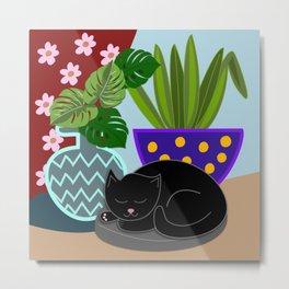 Flower pots and a black cat Metal Print
