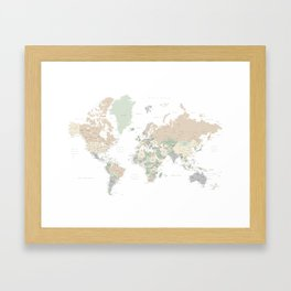"""World map with cities, """"Anouk"""" Framed Art Print"""