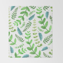 Greenery Leaves Pattern Throw Blanket