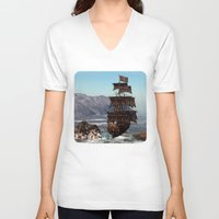 pirate ship V-neck T-shirts featuring Pirate Ship by Simone Gatterwe