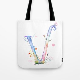 Letter V watercolor - Watercolor Monogram - Watercolor typography - Floral lettering Tote Bag