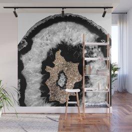 Gray Black White Agate Glitter Glamor #6 #gem #decor #art #society6 Wall Mural