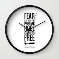 stephen king Wall Clocks featuring Lab No. 4 - Hope Inspirational Quote by Stephen King Inspirational Quotes by Lab No. 4
