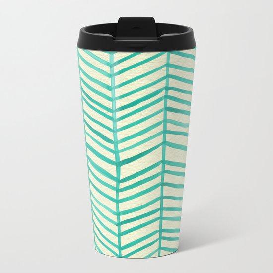 Mint Herringbone Metal Travel Mug