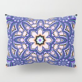Kaleidoscope flower in purple, pink, blue and salmon. Pillow Sham