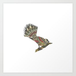Mandala Fantail from NZ bird Collection Art Print
