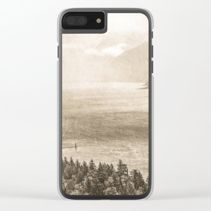 Sepia Vintage River Forest - Columbia River Gorge Clear iPhone Case