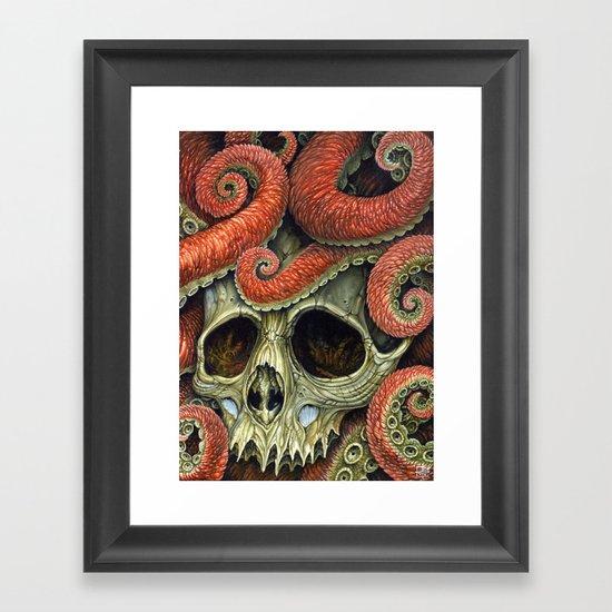 orange tentacles skull Framed Art Print