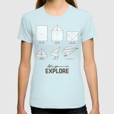 Let's go explore LARGE Womens Fitted Tee Light Blue