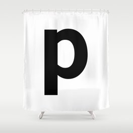 letter P (Black & White) Shower Curtain