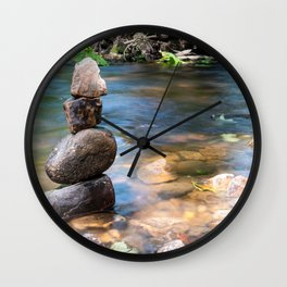 Balanced zen rocks at the river Wall Clock