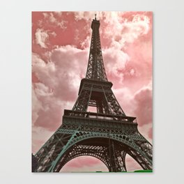 The Eiffel Tower in Pink Canvas Print