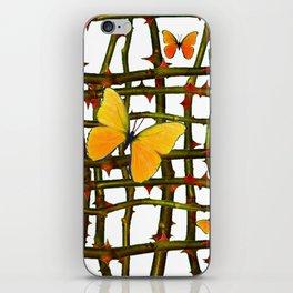 GOLDEN BUTTERFLIES THORN BRANCHES TRELLIS  PATTERN iPhone Skin