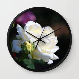 Pure White Rose Wall Clock