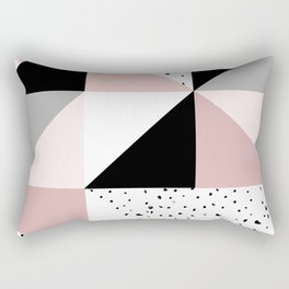 Geometrical pink black gray watercolor polka dots color block Rectangular Pillow