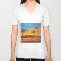 desert V-neck T-shirts featuring Desert by ArtSchool