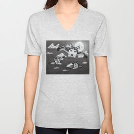 Flight of the Huskies - charcoal drawing Unisex V-Neck