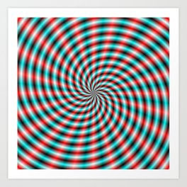 Turquoise and Red Spiral Rays Art Print