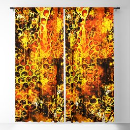 bees fill honeycombs in hive splatter watercolor Blackout Curtain