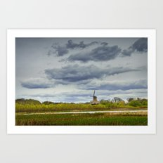 Landscape with the DeZwaan Dutch Windmill on Windmill Island in Holland Michigan Art Print