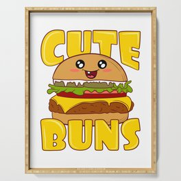 """Cute Buns"" Delicious Burger Hamburger T-shirt Design Patty Buns Grilled Charcoal Cooked Ham Serving Tray"