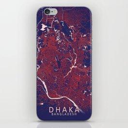 Dhaka, Bangladesh, Blue, White, City, Map iPhone Skin
