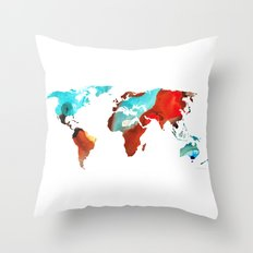 Map of The World 4 -Colorful Abstract Art Throw Pillow