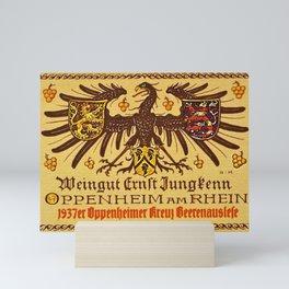Vintage 1937 Riesling Wine Bottle Label Weingut Ernst Jungkenn Mini Art Print