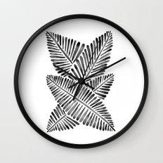 Tropical Banana Leaves – Black Palette Wall Clock