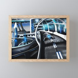 Exclusive illustration of the fantasy city of the future. Framed Mini Art Print