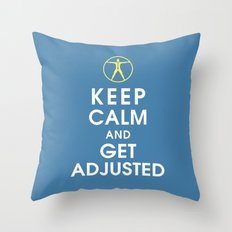 Keep Calm and Get Adjusted (chiropractor) Throw Pillow