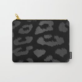 Black & Gray Metallic Leopard Print Carry-All Pouch
