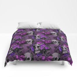 Gothic Flower Skulls Comforters