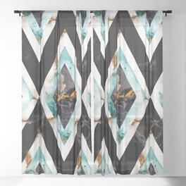 Art deco marble pattern 20s #homedecor Sheer Curtain