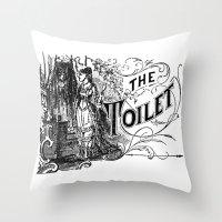 toilet Throw Pillows featuring The Toilet by Bramble & Posy
