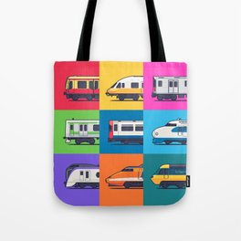 World Trains Grid Pattern Tote Bag