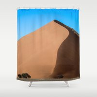 dune Shower Curtains featuring Dune Hike by Katie Jo Sheppard