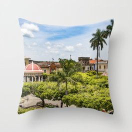 Red Gazebo and Trees Lining the Parque Colon de Granada in Nicaragua Throw Pillow