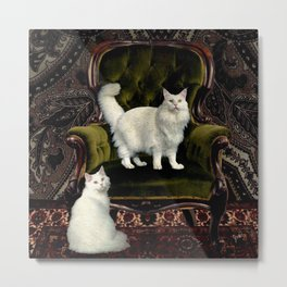 White Cats and Green Velvet Metal Print